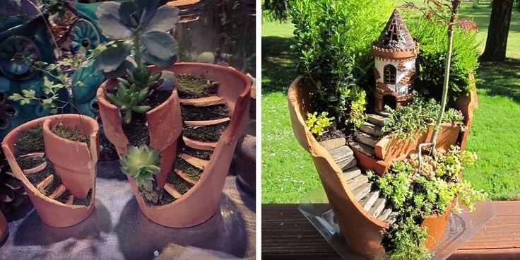 | I vasi rotti non si riescono a riparare facilmente, ma si possono sempre riciclare! Come? Ecco qualche idea su come trasformarli in divertenti villaggi in miniatura o composizioni...