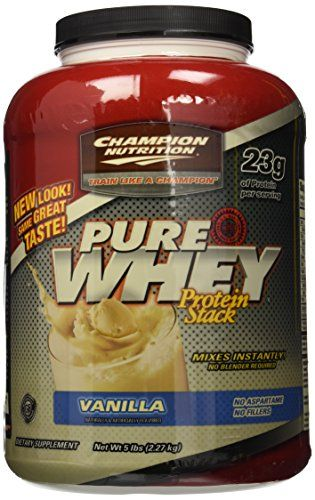 Champion Nutrition Pure Whey Protein Stack Vanilla 5Pound Plastic Jar ** Click here for more details @