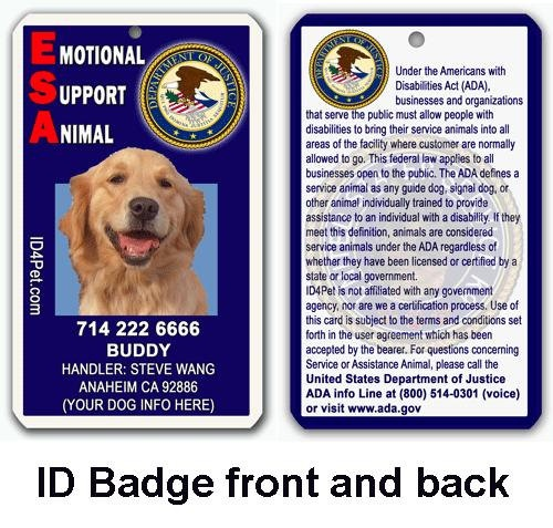 ESA Emotional Support Animal ID Tag and Badge Medical