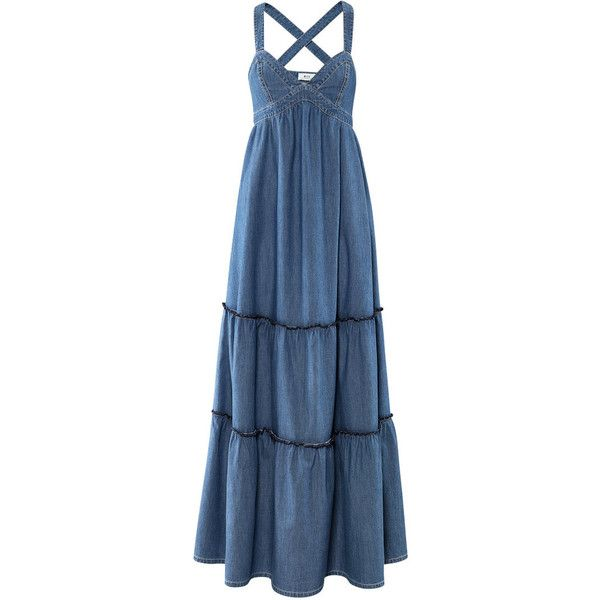 &Denim. Dress ($25) ❤ liked on Polyvore featuring dresses, maxi dress, women, flare dress, long blue dress, blue maxi dress, long denim dress and long flared dress