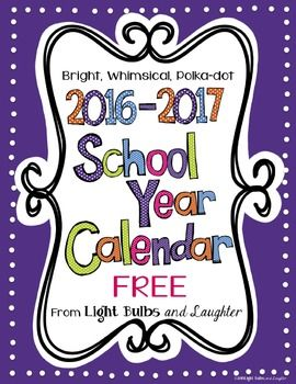 These FREE and editable colorful polka dot calendars have been updated for the 2016-2017 school year!  Their whimsical design will make you smile while helping to keep you organized for the coming school year!  They begin with August, 2016 and end with July, 2017.