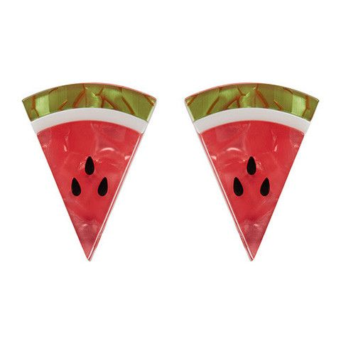 "Erstwilder Limited Edition Watermelon Wedges Earrings. ""Another botanical berry that was seemingly made to share. A slice is nice but why not have two?"""