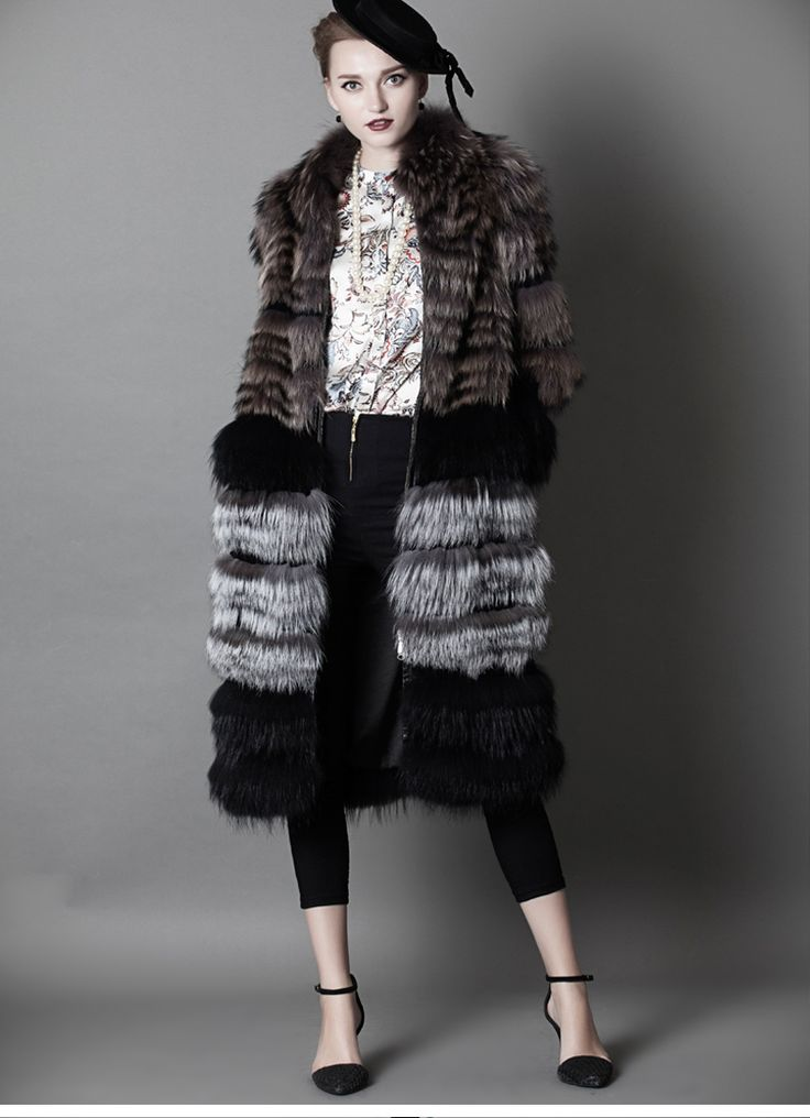 SAGA fox fur long coat ,silver fox fur outwear