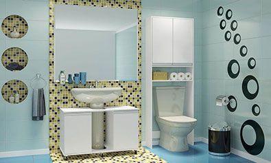 Banheiro Decorado com Armários para Pia e Caixa Acoplada Branco - Caaza