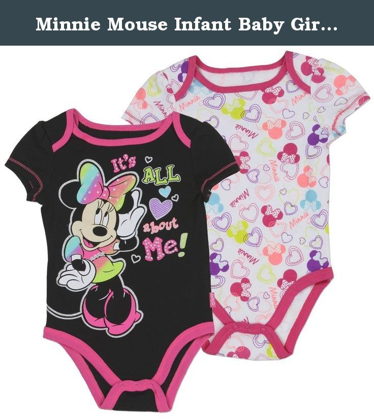"""Minnie Mouse Infant Baby Girls """"It's All About Me"""" Onesie Bodysuit Creeper (2-Pack) (6-9 mo., Black / Pink). Minnie Mouse Infant Baby Girls """"It's All About Me"""" Onesie Bodysuit Creeper (2-Pack)."""
