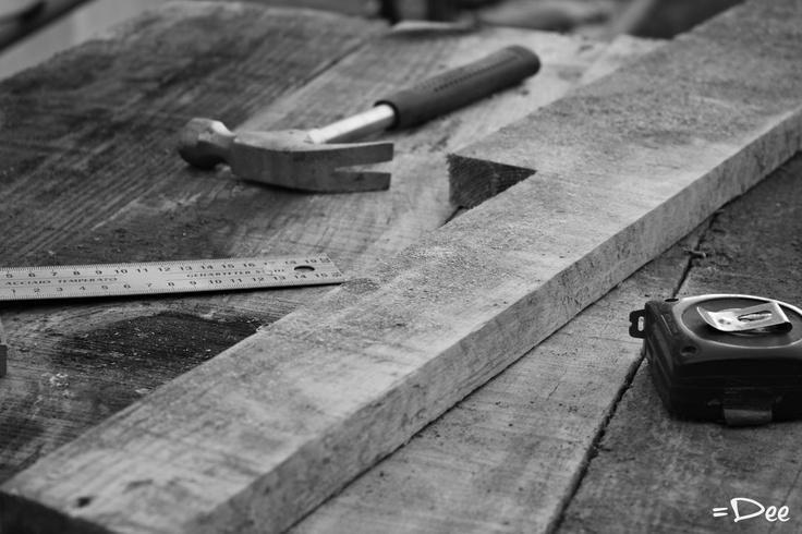 Dad's tools #hammer #measuringtape #wood