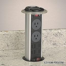 A pop-up plug - which plugs into an existing outlet (9' cord) - with a rubber flange that prevents liquids from entering the hole.Data Taps, Power Data, Kitchens Power, Kitchens Outlets, Excel Ideas, Kitchens Counter, Power Outlets, Hiding Outlets, Data Grommet
