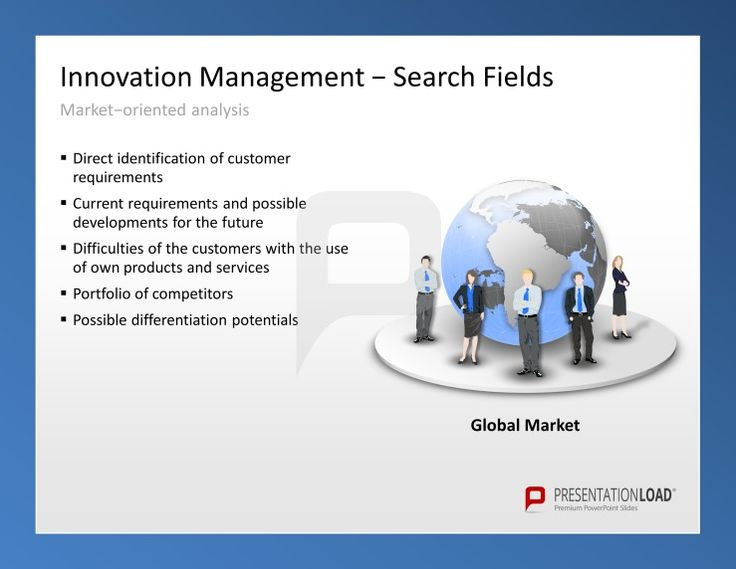 Innovation Management PowerPoint Templates for a market-oriented analysis: 1. Direct identification of customer requirements. 2. Current requirements and possible developments for the future. 3. Difficulties of the customers with the use of own products and services. 4. Portfolio of competitors. 5. Possible differentiation potentials.  #presentationload  www.presentationl...