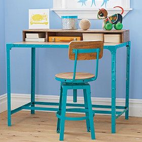 """Mason Desk with black base:  Sleek and modern kids' desk, perfect for children and teens. Desk for kids, made from solid wood and iron. Sturdy enough to grow with your child. Desk measures 40""""W x 24""""D x 34 1/2""""H. Matching desk chair and accent table also available. Simple assembly required."""