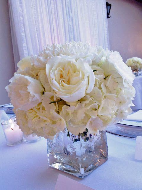 white rose and hydrangea centerpiece in silver mercury glass!!