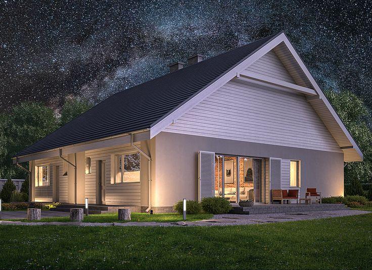 Elastyczny - wariant I (bliźniak) Murator BCC346a - to dom do zabudowy bliźniaczej, który dzięki wymiarom (krótszy bok ma zaledwie 7,3 m) nadaje się na bardzo wąską działkę. Jego atutem jest możliwość adaptacji poddasza (56 mkw.), które powiększy powierzchnię domu do ponad 120 mkw.
