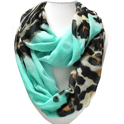 Mint & Leopard Print Infinity Scarf..love thiscolor