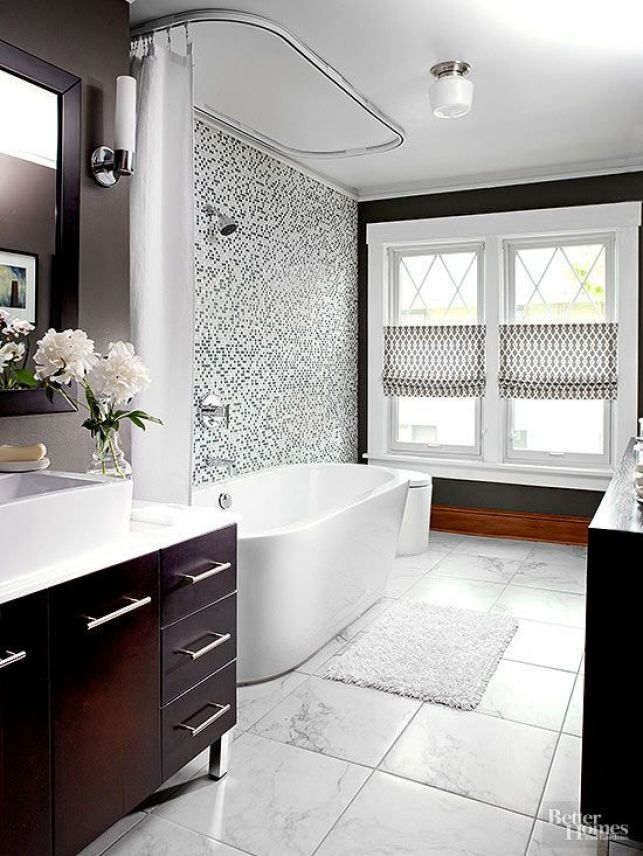 Small Bathroom Color Schemes: Mounting Window Treatments Half Mast...lets In Privacy And