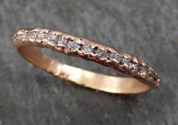 Raw Rough Uncut Diamond Wedding Band 14k Rose Gold Pink Diamond Wedding Ring byAngeline 0322