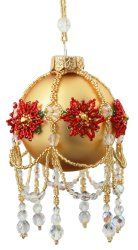 ThreadABead Poinsettia Swags and Tails Large Christmas Ornament