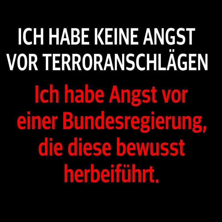 Ich habe keine Angst vor Terroranschlägen. Ich habe Angst vor einer Bundesregierung, die diese bewusst herbeiführt.