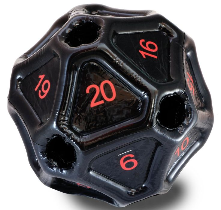 Giant Inflatable D20 (Black With Red Numbers)
