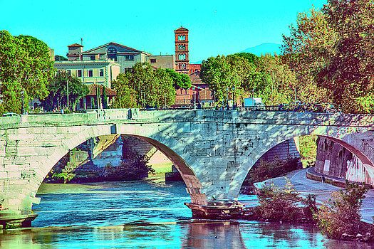 Beautiful Rome, river, Tiber, bridge, embankment with green trees and bell tower by George Westermak# George Westermak#Landscape#FineArtPfotography#Travel#FineArtPrints
