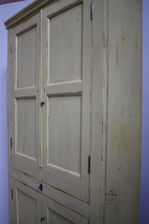 19th Century Antique Painted Pine Kitchen Cupboard - Antiques Atlas