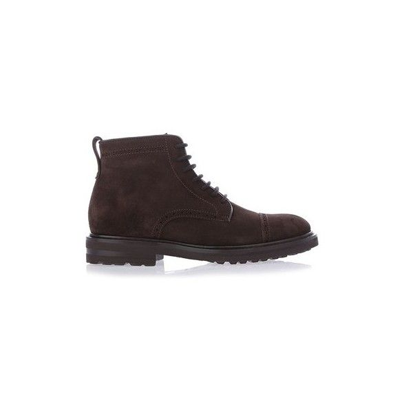 HENDERSON BARACCO Dark Brown Suede Boots (3,535 CNY) ❤ liked on Polyvore featuring men's fashion, men's shoes, men's boots, brown, mens dark brown boots, mens zipper shoes, mens dark brown dress shoes, mens zipper boots and mens brown boots