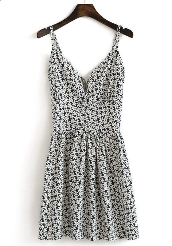 Multicolor Floral Pleated Shoulder-Strap V-neck Cotton Dress