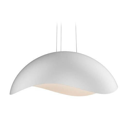 Sonneman A Way Of Light Waveforms Satin White LED Pendant With Bowl Dome Shade