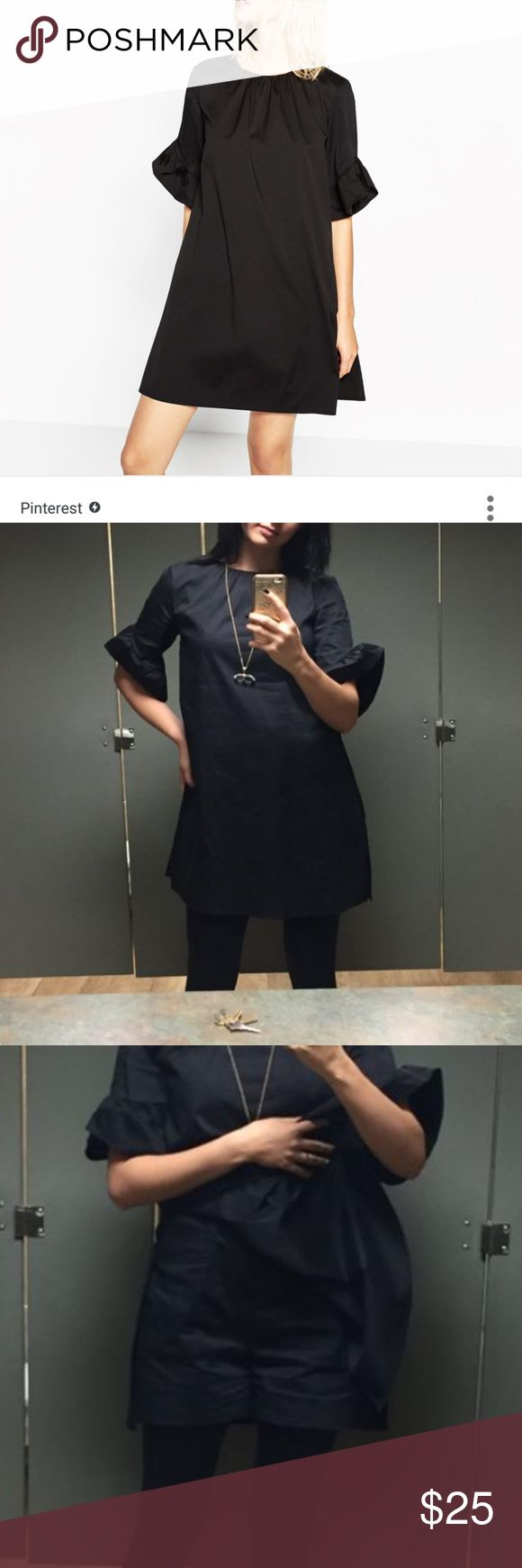 ZARA Jumpsuit dress with frill on sleeves Color is deep black (pics are little blurry). Gently worn, no flaws except it being gently worn. Really nice looking for both office and date nights. Zara Dresses Mini