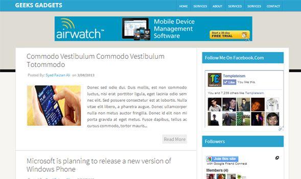 Geeks Gadget Blogger Template é um template blogger para blog de negócios, tecnologia e etc. Com layout limpo e atraente, Geeks Gadget tem 2 colunas, 1 sidebar direita, 2 colunas de rodapé, resumo de postagem leia mais, cabeçalho flutuante, botões de redes sociais, locais para posicionar anúncios e muito mais.