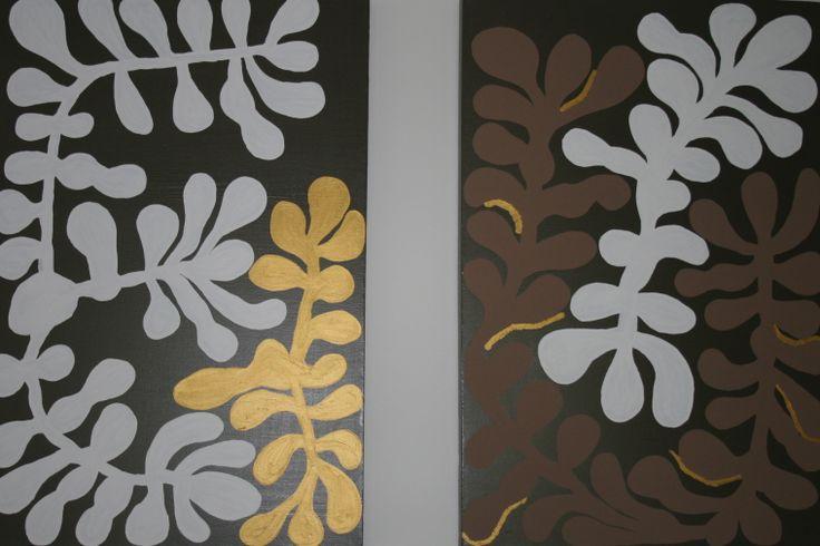 Plants. Two canvases 60cm x 90cm. Acrylic paint. $200