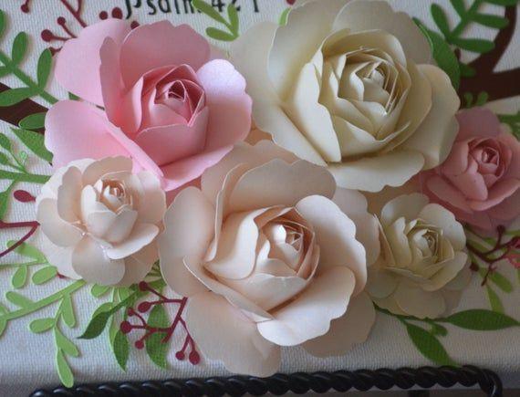 Paper Rose Template 5 Petal Rose Svg Png Simple Paper Rose Etsy Paper Flower Tutorial Paper Flower Template Paper Rose Template