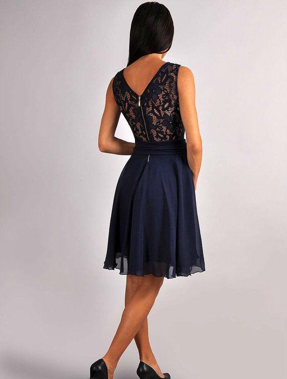 Bridesmaid Navy Blue Dress.Navy blue wedding.Sleeveless by Dioriss