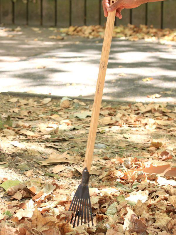 Petit rateau à gazon et feuille, bois et fer forgé L\u0027échoppe et