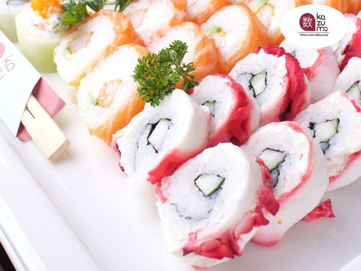 LA MEJOR COMIDA JAPONESA EN POLANCO.  RASTAS ROLL Es un delicioso sushi que está elaborado a base de camarón empanizado, queso y aguacate envuelto en hoja de soya; cubierto con salmón, atún y cangrejo spicy sobre una salsa de anguila y ajonjolí. En RESTAURANTE KAZUMA contamos con una exquisita variedad de sushis para deleitar al paladar más exigente, le invitamos visitarnos en Julio Verne #38 Colonia Polanco en México, D.F. #elmejorrestaurantejaponésenméxico