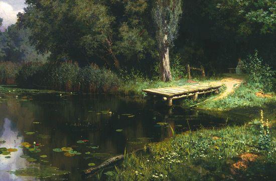 Картина Заросший пруд. Поленов Василий. 1879 г.