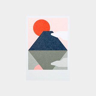 年賀状2015 幾何学,富士山