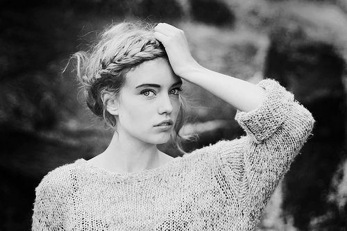 Black & WhiteBraids Hairstyles, Long Hair Style, Wedding Hair, Long Hairstyles, Sweaters Weather, Portraits Photography, Braids Crowns, Big Sweater, Beautiful Tricks