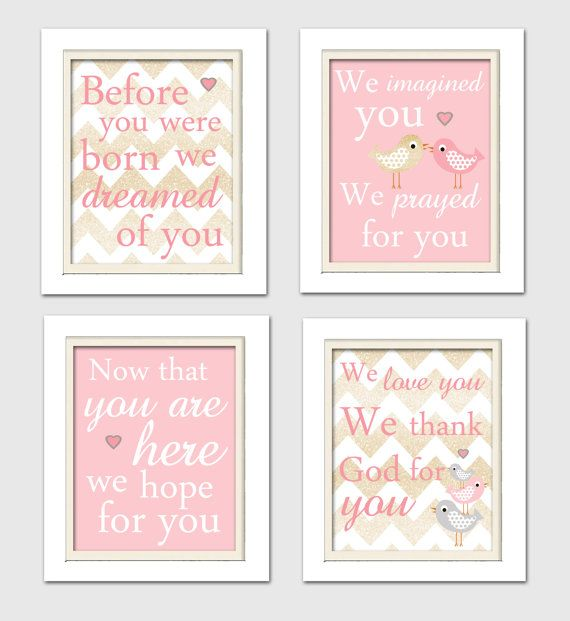 Before you were born we dreamed of you, Pink and Gold Nursery, Bird Nursery, Bird Prints, Set of 4 8X10, Pink, Gold, Nursery Poem
