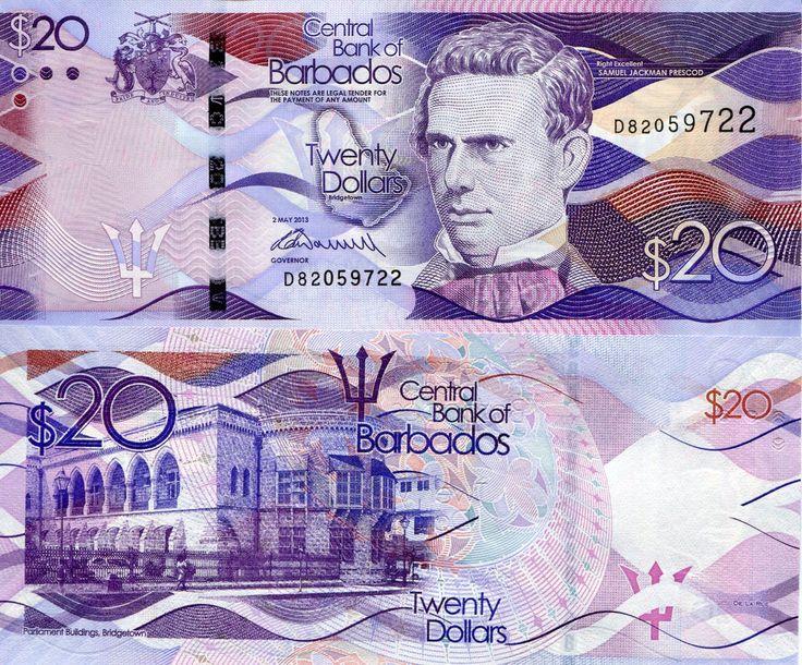BARBADOS $20 Banknote World Money UNC Currency Caribbean BILL 2013 Note Prescod