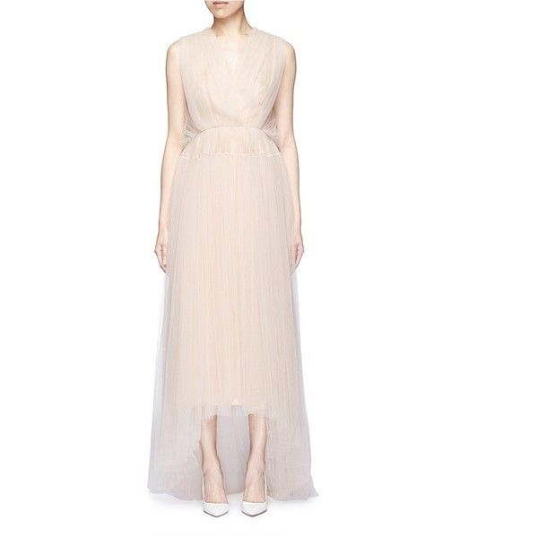 Delpozo Bead paillette back trim tulle dress ($3,835) ❤ liked on Polyvore featuring dresses, neutral, evening dresses, sheer cocktail dress, beaded cocktail dress, holiday dresses and pink evening dresses