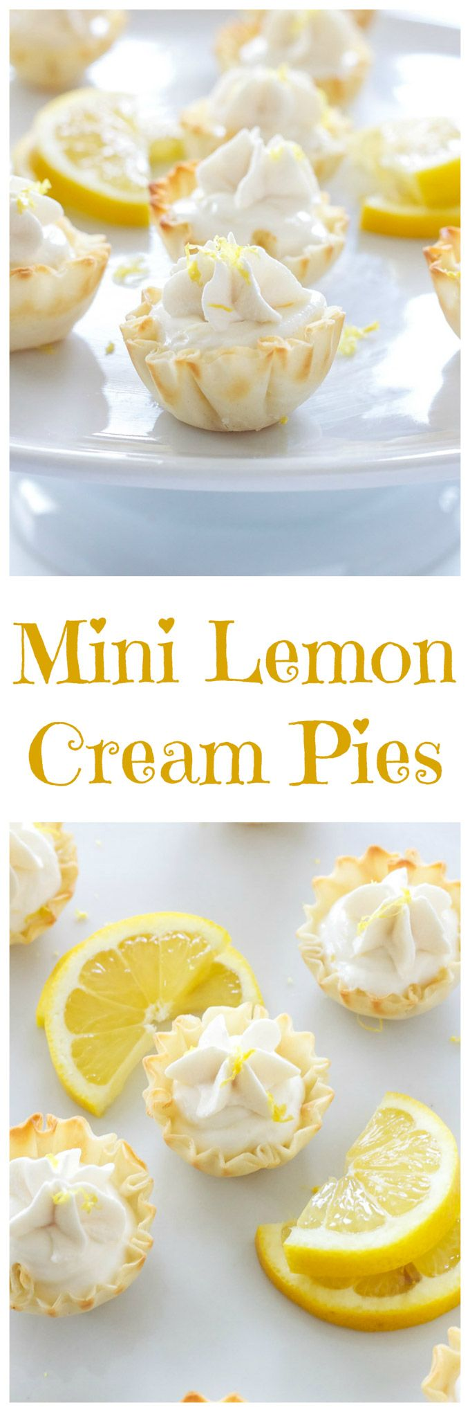 Lemon Cream Pies - Lightened up lemon cream pie filling served in mini phyllo cups is the perfect bite sized dessert!