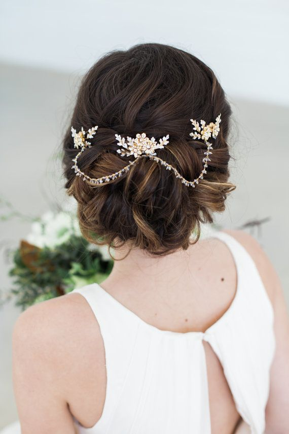 Gold Crystal Hair Chain Bridal Hair Jewelry Crystal
