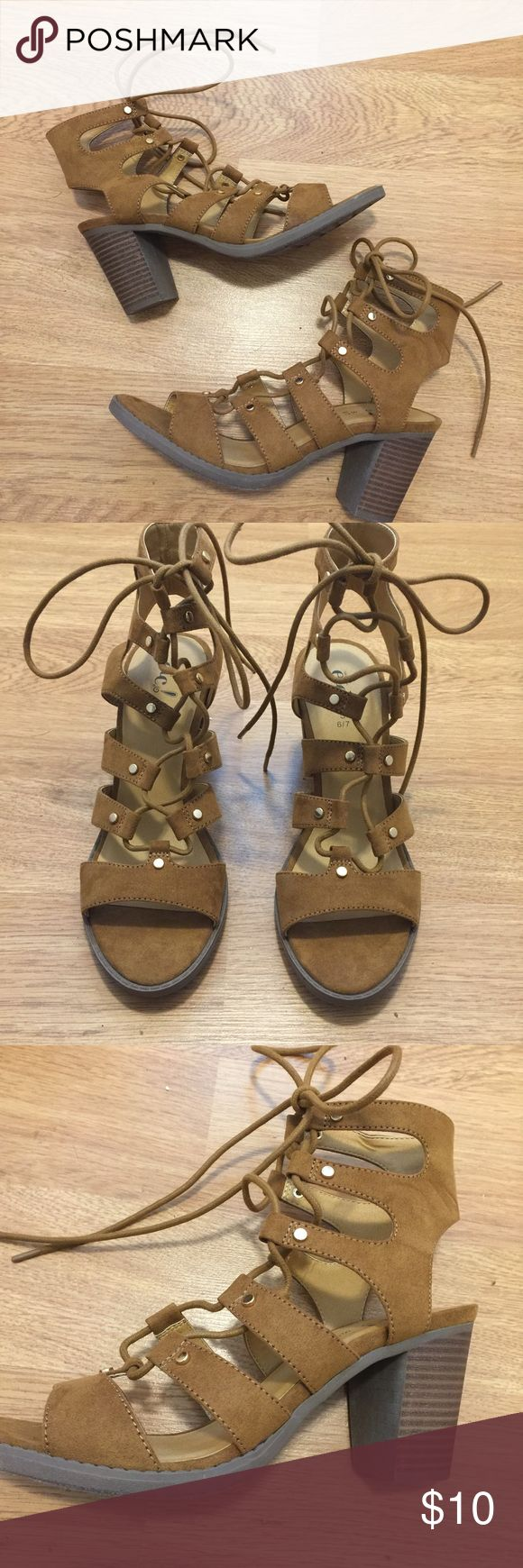 Camel Heeled Sandals Never worn Camel lace up heeled sandals! A serious must have for summer and fall! Rue21 Shoes Heels