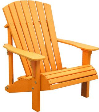 Outdoor Adirondack Chair Deluxe Design, Tangerine   Beach Style    Adirondack Chairs   Furniture