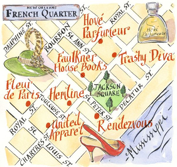 French Quarter map - the Girlie side of NOLA