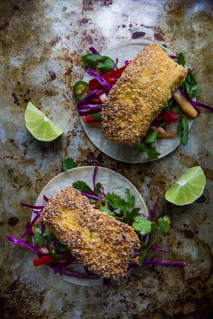 Cornmeal Crusted Halibut Tacos with Mango Slaw #tacotuesday
