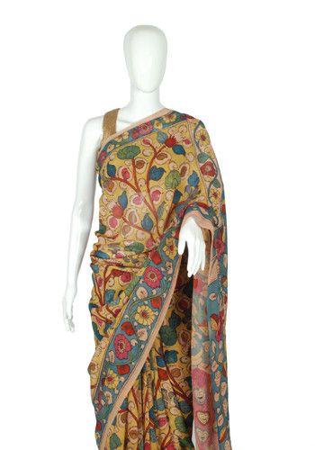 Silk Pen Kalamkari Saree – Desically Ethnic