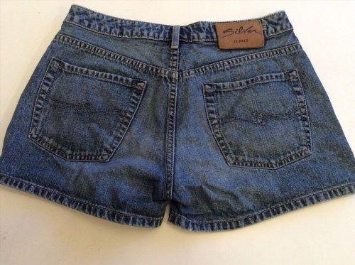 25.25$  Watch now - http://vildz.justgood.pw/vig/item.php?t=3xgqdr47352 - Womens Silver Jean Shorts Vintage Daisy Dukes Short Shorts Size 29 Dark Wash 25.25$