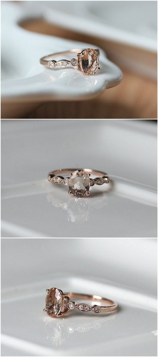 Anitque Art Deco 7x9mm Oval Cut Morganite Engagement Ring / http://www.deerpearlflowers.com/inexpensive-engagement-rings-under-1000/2/
