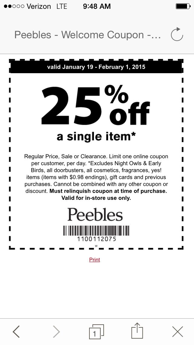 Peebles coupon