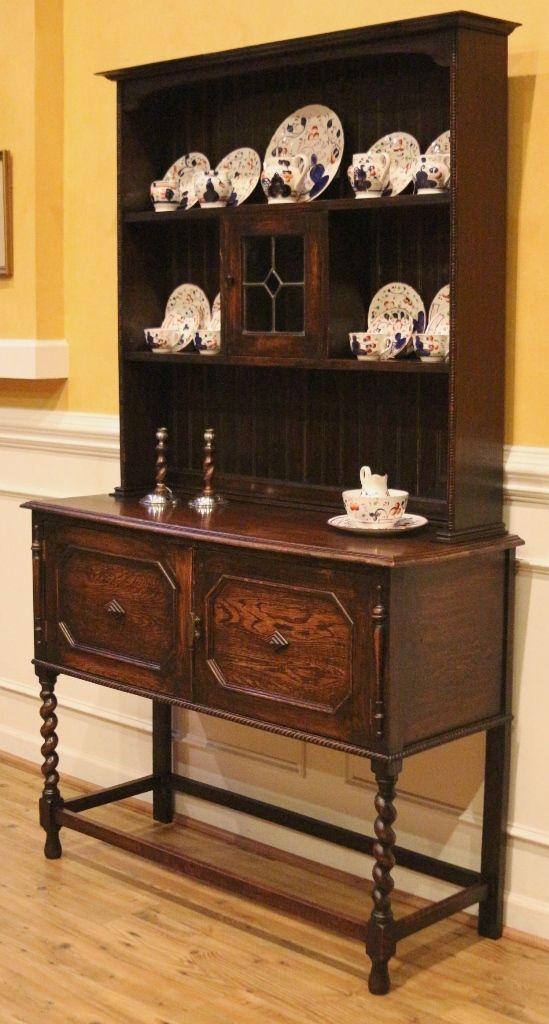antique oak welsh dresser china cabinet hutch